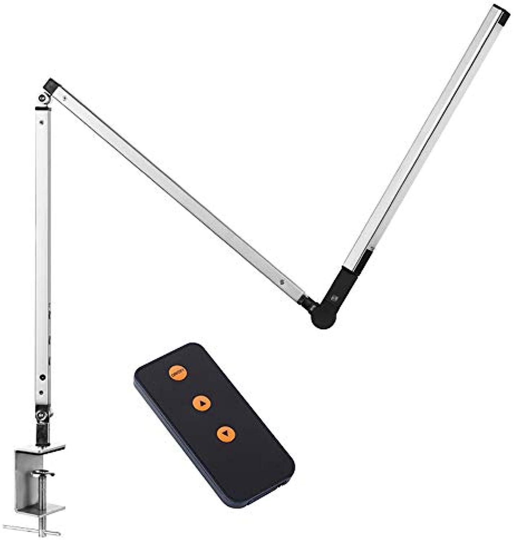 Verstellbarem Schwenkarm Metall LED Schreibtischlampe 8W Dimmbare (Mit Fernbedienung, Stufenlose Dimmung, Augenschutz Technologie) Silber