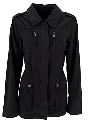 JOPHY & CO. Chaqueta de mujer 100% algodón con bolsillos laterales, cierre central con cremallera, cordón interior ajustable (cód. 6265) Negro S