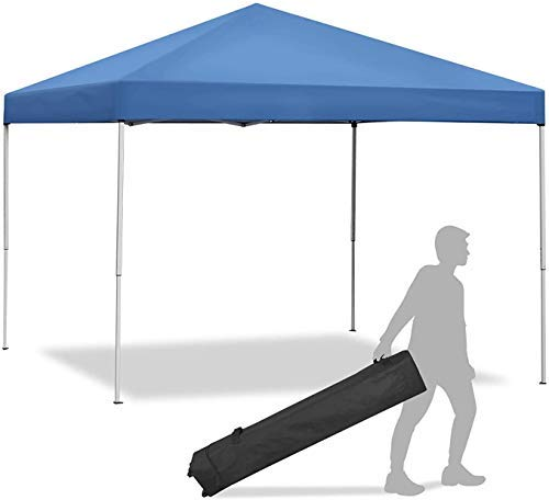 YXB 10 x 10 FT Pop Up Canopy Tent, Blue Foldable and Height Adjustable Outdoor Tent Sun Protection Canopy Beach Shelter with Wheeled Carry Bag Steel Frame Waterproof Oxford Fabric