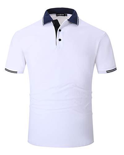 Kuson Herren Poloshirt Kurzarm Polo Shirts Polohemden mit Streifen, Weiß, XL