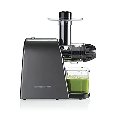 Hamilton Beach Masticating Juicer Machine, Slow and Quiet Action, Cold Pressed Fruits & Vegetables, BPA Free, Easy Clean (67951), 150 Watts, Silver