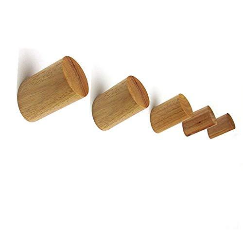 MUXItrade Holz Kleiderhaken 5 Stück, Natürliche Wand montiert Kleidung Schal Hut Tasche Lagerung Kleiderbügel Handtuchhalter Schlafzimmer Dekoration Pflöcke, Durchmesser 30mm