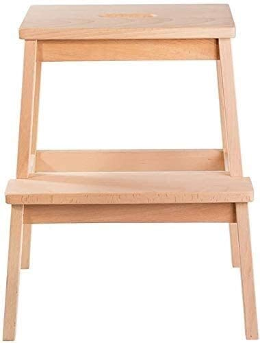Suge Wooden Ladder Stool Step Stool 2 Step Step Stoololid Wood Stairs Stool-Ascends Ladder Children's Stool Low Ladder Change Shoes Bench,No Paint Stable Chassis