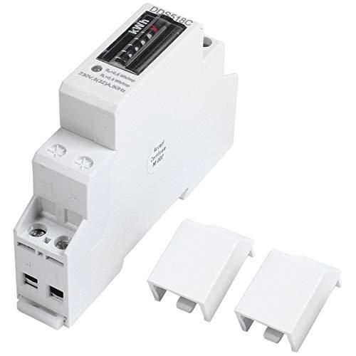 TEEAN Estruendo Carril Monofásico Contador Analógico Electricidad Consumo de Energía Vatímetro Medidor de Energía Vatio Kwh 5-32A Ca 230 V