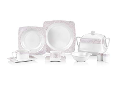 Tac Elegance Bone | 85 Teilig | Tafelservice | Teller-Set | Esservice | Tafel-Set | Porzellan | Weiß | 12 Personen |