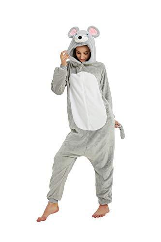 EJsoyo Onesie Adult Reindeer Costume Dinosaur Sleepwear Animal Lion Mouse Cosplay Pajama Teens Halloween Costume (XL, A Mouse)
