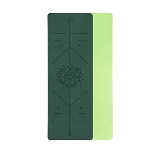 Yuan Ou Esterilla Yoga TPE Yoga Colchoneta Antideslizante de Doble Capa Almohadilla para Ejercicios de Yoga con línea de posición para Gimnasia y Pilates 17