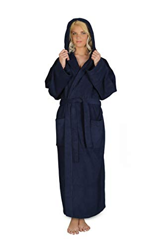 Arus Women's Hooded Classic Bathrobe Turkish Cotton Robe with Full Length Options (L-XL,N.Blue)
