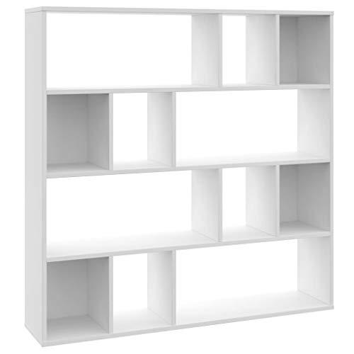 vidaXL Raumteiler Bücherregal 12 Fächer Wandregal Standregal Aktenregal Raumtrenner Büroregal Regal Bücherschrank Weiß 110x24x110cm Spanplatte