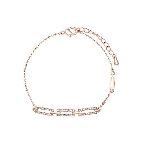 Personality Square Hollow Zircon Bracelet Female Niche Design Student Rose Gold 17cm Rose gold geometric aesthetic zircon bracelet