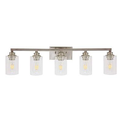 VINLUZ Industrial 5 Light Vanity Bathroom Light fixtures Brushed Nickel Modern Wall Lighting Sconces with Clear Glass Shade for Living Room Hallway