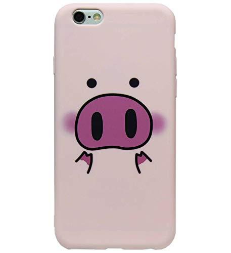 ADEL - Cover morbida in silicone e TPU, compatibile con iPhone 6 (S) Plus, motivo: maialino