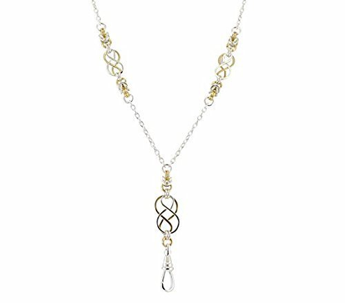 Brenda Elaine Jewelry Silver and Gold Plated Women's Fashion Lanyard Necklace ID Badge Holder, 32 Inch Silver Chain with Two Tone Celtic Knots & Byzantine Accents & Rear Break Away Clasp