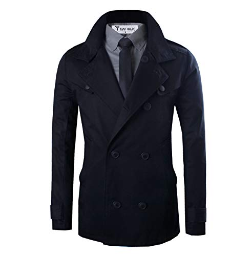 TAM WARE Mens Stylish Slim Fit New Trench Coat TWCJ08-BLACK-US M
