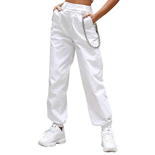 FeMereina Pantalone Mimetico Donna a Vita Alta Pantaloni Cargo Slim Fit con Tasche, Pantaloni Cargo Pantaloni Sportivi per la Danza da Jogging (Bianco, M)
