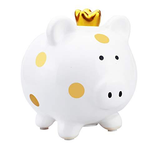商売繁盛のマスコットのかわいい子豚の貯金箱クラウン豚の貯金箱子供のおもちゃの貯金箱(金色の)