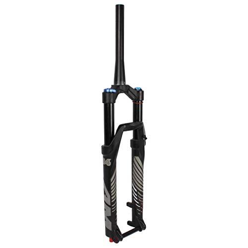 VTDOUQ Horquilla de suspensión de aleación de magnesio para Bicicleta MTB 26/27.5/29 Pulgadas, Tubo de dirección cónico a través de la Horquilla de Aire del Eje. Bloqueo Manual