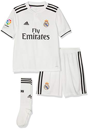 adidas - Kit Sportivo Real Home per Bambini, Divisa di casa, Bambini, CG0553, Core White/Black, 140