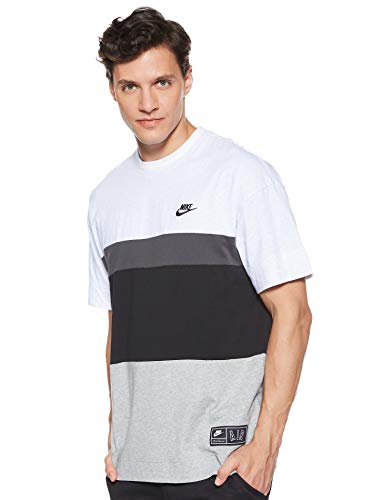 Nike M NSW AIR Top SS T-Shirt Homme, Birch Heather/Black/White, FR (Taille Fabricant : XS)