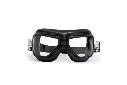 BERTONI Gafas Aviadoras de Moto para Abarcar Las Gafas de Vista - Montura de Acero Negro Matte - Lentes Antivaho - AF194A by Italy - Gafas Motoristas para Cascos Moto Harley y Chopper