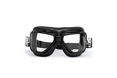 Bertoni Motorcycle Vintage Goggles that Fit over Glasses - Black Steel Profile - Antifog and Anticrash Lenses - by Bertoni Italy - AF194A