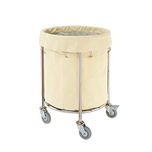 Salon Trolleys Runder Rollender Wäschebehälter auf Rädern mit Tasche, Abnehmbare Tragbare Werbung Wäschesortierwagen, 60 cm X 81 cm
