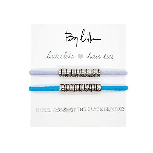 By Lilla Disc Elastic Hair Ties and Bracelets   Set of Two Hair Tie-Bracelets   Hair Accessories for Women   No Crease Hair Ties & Women's Bracelets   Silver (Neon Blue/Lilac)