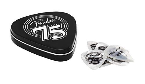 Fender® 75TH Aniversary PICK TIN BOX - Púas de celuloide (forma 351, 18 unidades, tamaño mediano), color blanco