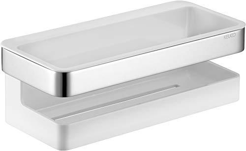 KEUCO Duschkorb aus Metall hochglanz-verchromt und Kunststoff weiß, Einsatz herausnehmbar, bruchfest, 8x24x11cm, Wandmontage in der Dusche, Moll