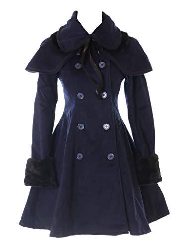 JL-900 Dunkel-Blau Damen Mantel mit Cape Victorian Klassisch Gothic Lolita Kostüm Cosplay (M)