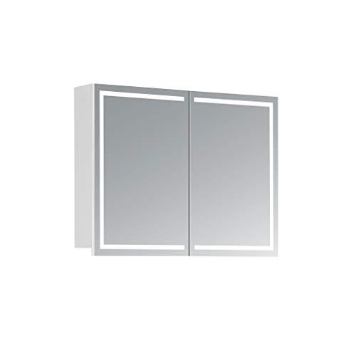 HAPA Design Spiegelschrank Milano weiß mit LED Beleuchtung in Lichtfarbe 4000K, VDE Steckdose, Softclose Funktion und verstellbaren Glas Ablagen. Komplett vormontiert. SGS geprüft. (80 x 60 x 14 cm)