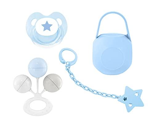 Juego de regalo para nacimiento de Luxury Baby de 4 piezas: 1 chupete chupete de niño, 1 cadena, 1 porta chupete y 1 figura de niño recién nacido bautizo regalo nacimiento brillante