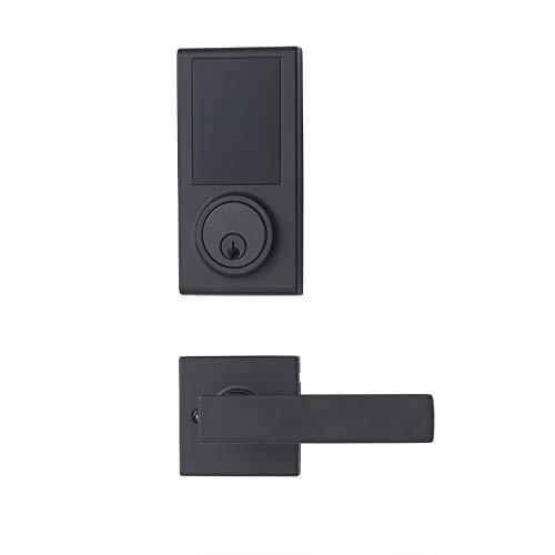 Amazon Basics Grade 3 Electronic Touchscreen Deadbolt Door Lock with Passage Lever - Matte Black