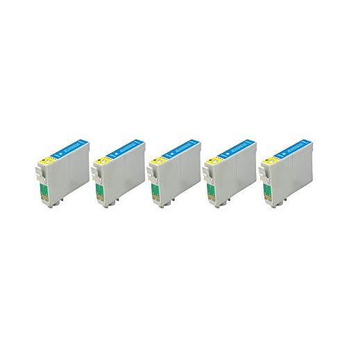 RudyTwos - Juego de 5 unidades de tinta para Epson Seahorse LightCyan compatible con Stylus Photo R200, R220, R300, R300M, R320, R325, R330, R340, R350, RX300, RX320, RX500, RX600, RX644 0