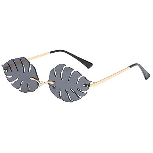 Hanpiyignstyj Gafas De Sol, Fashionless Leaf Sunglasses Sunglass Retro Gafas de Sol de Metal (Lenses Color : Black)