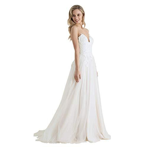 Findlovewedding Vestidos de novia para novia 2021 con apliques de encaje, Classic, 14, Blanco crudo