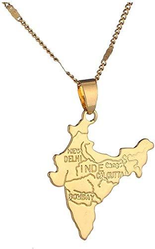 Collar Color dorado República de India Mapa Colgante Collar Mapa Cadena Joyería