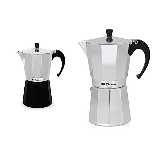 Orbegozo KFM 930 – Cafetera italiana de aluminio, 9 tazas de capacidad, negro y silver + KF 1200 Cafetera Italiana de Aluminio, 12 Tazas, Tapón de Seguridad, Filtro Desmontable