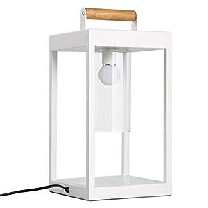 DGHJK Table de Chevet Lampe de Chevet de Style Nordique Simple Salon Chambre Chevet créatif Blanc en Fer forgé Mode Art carré Lampe de Table étude Bureau Lecture Lampe de Table Lampe de Bureau