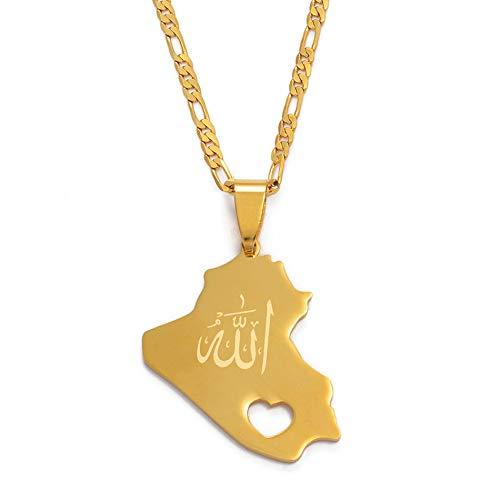 Mapa Colgante de la República de Iraq Collar para Mujeres Hombres Color Dorado con Nombre de Alá Joyería Mapa de Iraq