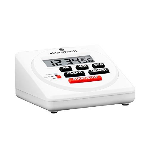 Marathon Commercial Minuteur numérique 24 heures avec compte à rebours, compte à rebours et fonction horloge – Piles incluses, blanc, Taille L