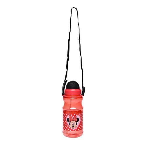 Character Botella De Agua Tapa Abatible Paja Escondida Minnie