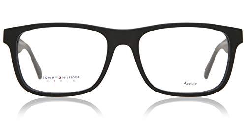 Tommy Hilfiger - TH 1282, Rechteckig, Acetat, Herrenbrillen, BLACK MATTE BLACK(KUN), 52/17/140