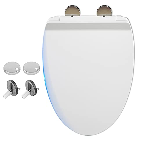 Toilet Seat Elongated, Slow Close Toilet Seat with Quick Release Hinges, High-Density Ultra-Thin Mute Oval Toilet Lid Easy Install & Easy Clean, CZ-V011 White