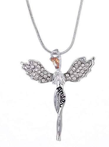 FÉERIES ET MERVEILLES Collar y Colgante Ángel (Color Plata)–Figura ángel–Cristales Swarowski R