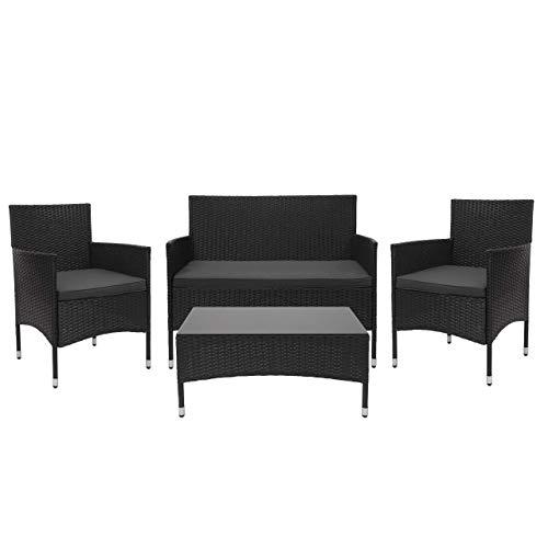 Mendler Poly-Rattan Garnitur HWC-F55, Balkon-/Garten-/Lounge-Set Sofa Sitzgruppe ~ schwarz, Kissen dunkelgrau