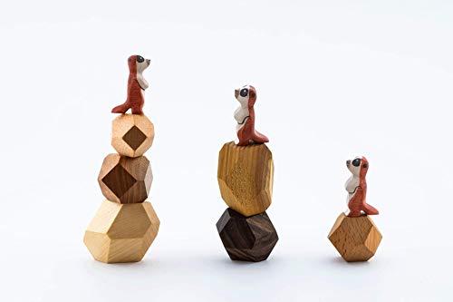 TRAUMHOLZIG Erdmännchen Familie (+BAU-Steine) Bio Waldorf Natur Stapel Spiel ab 3 Jahre | Spielzeug | Tierfiguren | handgemacht aus hochwertiges Holz