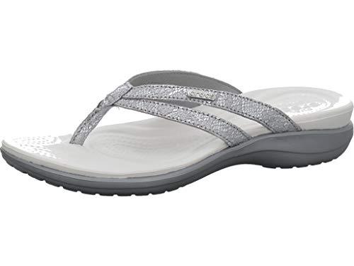 Crocs Women's Capri Strappy Flip Flop, silver/silver, 10 M US