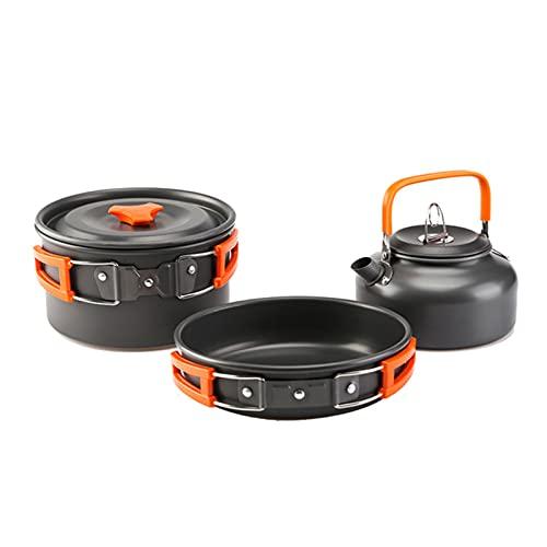 Kit de utensilios de cocina portátil de aluminio ultraligero para acampar al aire libre, juego de cacerola para senderismo, picnic, camping, equipo de camping, color naranja