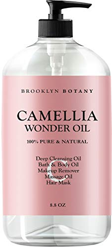 Brooklyn Botany - Camellia Wonder Oil - 100% Pure & Natural - Deep Cleansing Oil, Bath & Body Oil, Makeup Remover, Massage Oil, Hair Mask - Ultra Lightweight 8.8 oz
